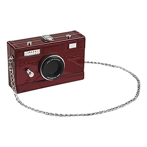 (LONGDAY  Women Crossbody Bags Girl PU Camera Shaped Snapshot Casual Cross Body Shoulder Handbag Leather Purse Red)