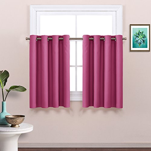 Window Treatment Valance for Girls' Room - Home Gift Tailored Tier Grommet Curtain by NICETOWN (1 Panel, W52 x L36-Inch, Roseo (Tailored Grommet Panel)