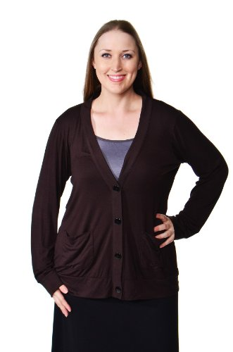 24/7 Comfort Apparel Women's Plus Size Two Pocket Cardigan
