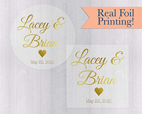 (Personalized Wedding Favor Stickers, Color Foil on Clear/Transparent Engagement Party Stickers (#024-CF))