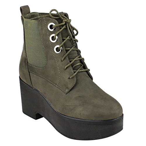 wholesale Beston EJ36 Women's Lace Up Platform Wedge Ankle Booties One And Half Size Small free shipping