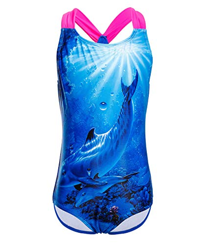 - Girls' One Piece Swimsuit Swimwear Blue Ocean Dolphins Printed Racer Back Bathing Suit 6-6X