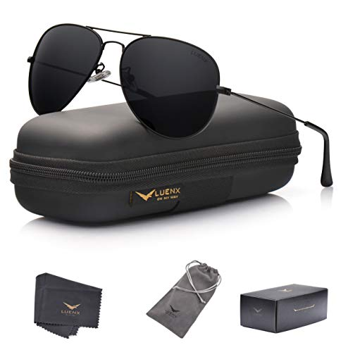 LUENX Aviator Sunglasses Polarized Mens Womens Black Lens Black Metal Frame ()