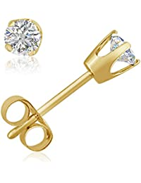AGS Certified 1/3ct TW Round Diamond Stud Earrings in 14K White or Yellow Gold