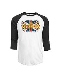 Men's Def Leppard Jack Vintage Flag England 3/4 Sleeve Raglan T-Shirt