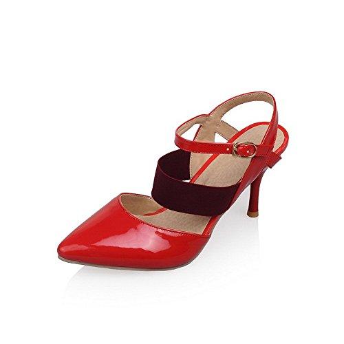 AllhqFashion Damen Schließen Zehe Schnalle Rein Stiletto Sandalen Rot