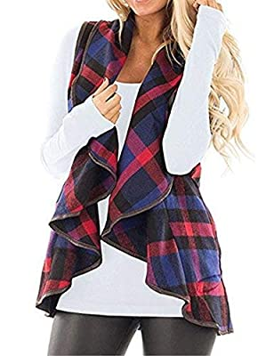 CXINS Womens Fashion Lapel Open Front Sleeveless Plaid Vest Cardigan Coat with Pocket