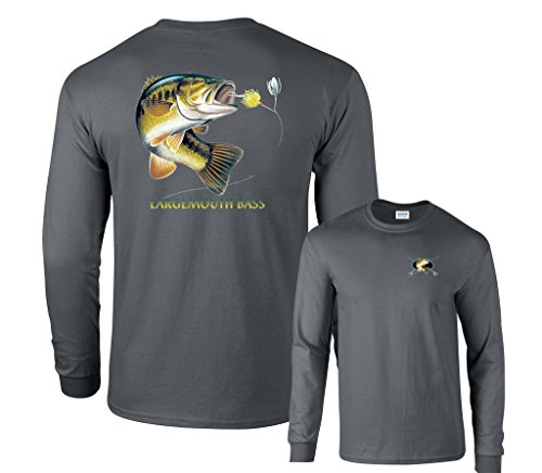 Square Game Largemouth Bass Going For Lure Profile Fishing Long Sleeve T-Shirt-Charcoal-Large