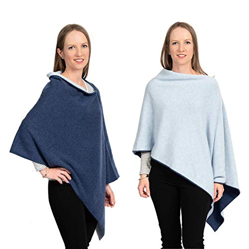 Cashmere Reversible Poncho Dress Topper - 100% Pure Luxury Knit - Ultra Soft and Warm with Beautiful Silk Keepsake Gift Bag (Denim and Pale Blue)