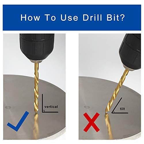 "COMOWARE Left Hand Drill Bit Set, 13 Piece | M2 HSS With Titanium Nitride Coating | SAE (1/16"" - 1/4"") (Left Hand-13PCS)"