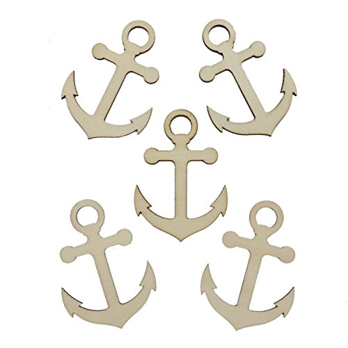 WEFOO Pack of 20 Unfinished Wood Anchor Cutout Shapes for Paint Decorate Handicraft