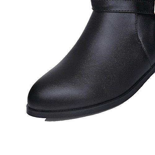 Low Round Buckle Solid PU Heels Women's Black Boots AgooLar Toe qE41OO