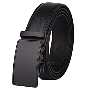 Dante Mens Real Leather Ratchet Dress Belt with Automatic Buckle-Elegant Gift Box(55-0027), Black Style12, Adjustable from 20in to 44in Waist
