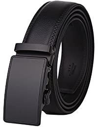 Men's Leather Ratchet Dress Belt with Automatic Buckle