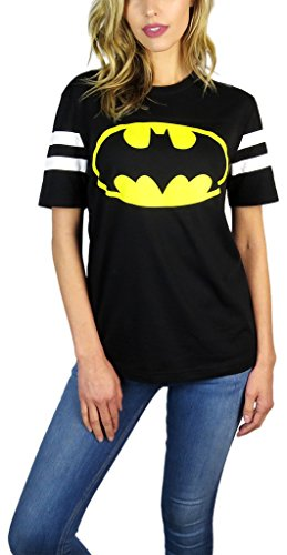 Batman Ladies T-shirt (DC Comics Womens Batman Varsity Football Tee Black (Small, Black))