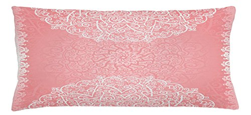 Light Pink Throw Pillow Cushion Cover by Lunarable, Doily Inspired Cute Lace Style Round Motifs with Ornate Intricate Hearts, Decorative Square Accent Pillow Case, 36 X 16 Inches, Pale Pink - 16 Inch Light Doily
