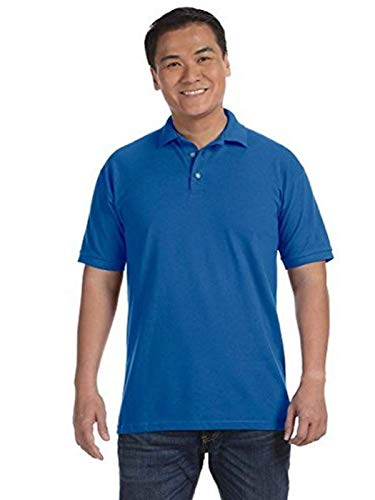 Shirt Sport Sleeve Pique (Anvil 6020 Cotton Deluxe Pique Sport Shirt - Royal Blue - L)