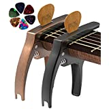 Guitar Capo, 2 Pack TANMUS 3in1 Universal Zinc Metal Capo for Acoustic and Electric Guitars (with Pick holder and 6 Picks),Ukulele,Mandolin,Banjo,Classical Guitar Accessories