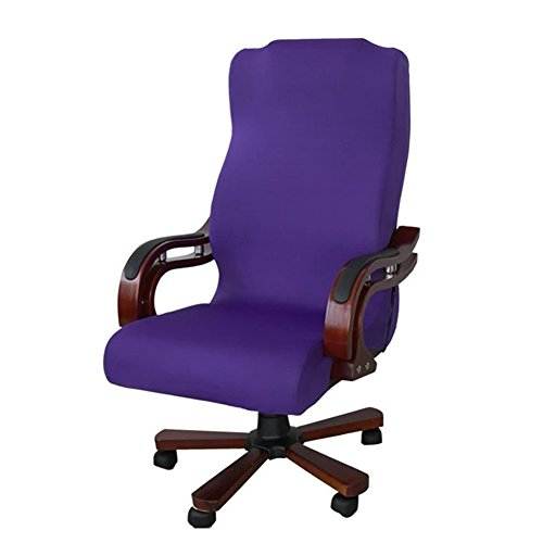 Stretch Modern Washable - Office Chair Cover,TOPCHANCES Office Modern Elastic Computer Elastic Stretch Universal Boss Chair Cover, Easy Washable Removeable Chair Protector Cover L Size(Chair Not Include) (Purple)