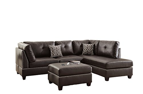 - Poundex F6973 Bobkona Viola Faux Leather Left or Right Hand Chaise Sectional Set with Ottoman (Pack of 3), Espresso