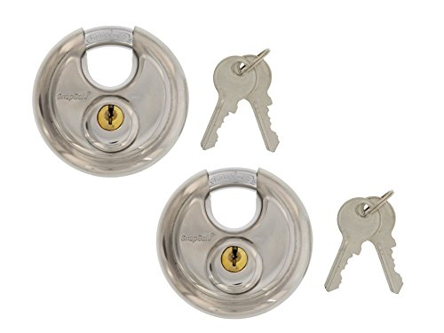 ainless Hardened Steel Round Disc Padlocks, For Maximum Security, Ideal for Storage Units or Box Trucks, Indoor/Outdoor Use, Includes 2 Locks Keyed Alike ()