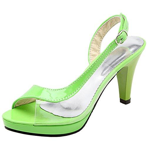 Toe Conique Green à Sandales Talon TAOFFEN Femmes Peep 106YxSE