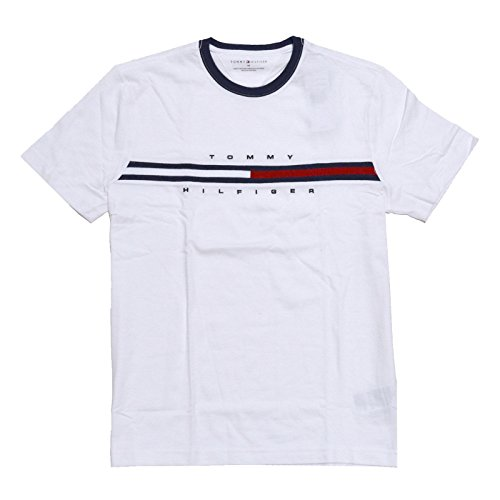 Tommy Hilfiger Mens Classic Fit Big Logo T-Shirt (Large, Classic White) (Pack Tshirt Men Tommy Hilfiger)