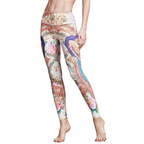 MTSCE Yoga Pants Yoga Capris Printed Workout Leggings for Fitness Riding Running(XS-XXXL) (Peacock, L/US -