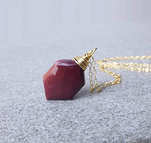 - Mookaite Red Jasper Stone Necklace 14K Gold Filled 17 inch, Red Necklace
