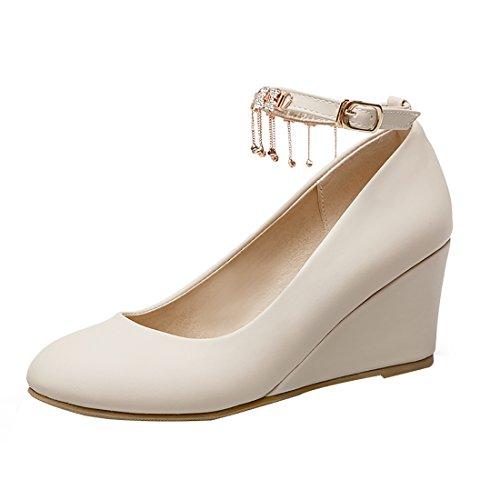 Moyen Rond Chaussures Fleurs avec Compensees Cheville Bride Bout Talon Douce Femmes a Beige UH Simple X8qw7X