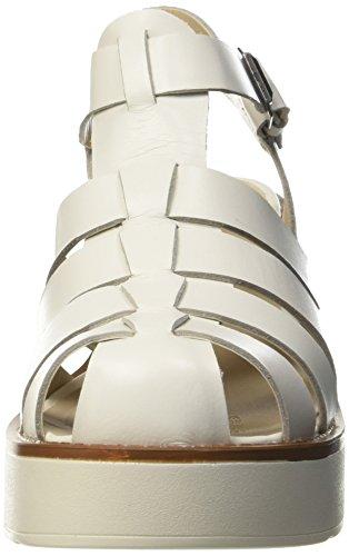 con Lily Smith Leather Bianco White Donna Cinturino T col Scarpe Windsor Tacco a RYnTpn