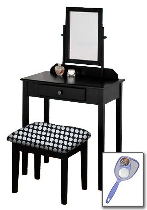 New Black Wooden Make Up Vanity Table with Mirror & Black and White Polka Dot Themed ()