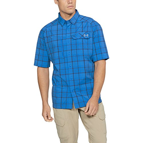 Under Armour Outerwear Men's UA Fish Hunter SS Plaid, Mediterranean (437)/Steel, Small