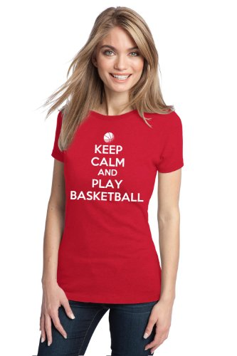 KEEP CALM AND PLAY BASKETBALL Ladies' T-shirt / Baller Hoops Player Tee