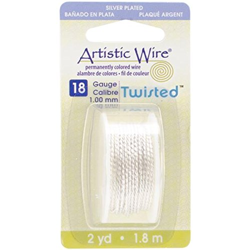 - Beadalon AWD18TS1 18 Gauge Twisted Round-Non-Tarnish Artistic Wire, 2-Yard, Silver