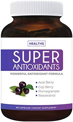 Super Antioxidant Supplement - Powerful Super Food Antioxidants Blend - Acai Berry, Goji Berry, Pomegranate & Trans Resveratrol - Natural Herbal, Fruit Formula - Skin Care - Made in USA - 60 Capsules