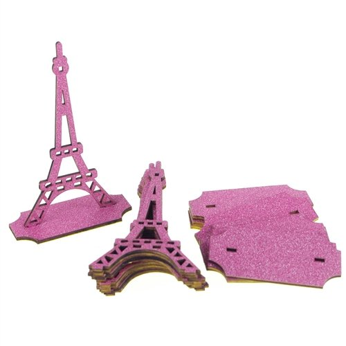 Homeford FCF0WSTEFFUS Wooden Eiffel Tower with Glitter, 5
