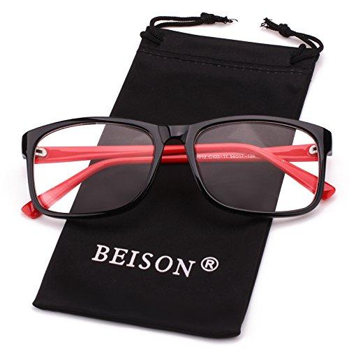 Beison Womens Mens Wayfarer Glasses Frame Nerd Eyeglasses Clear Lens (Black / Red, - Shuron Glasses