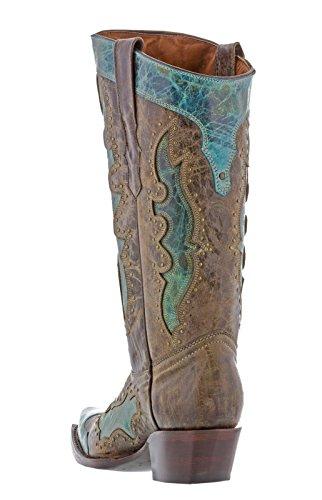 Cowboy Professionale Da Donna Turchese Kenia Con Borchie In Pelle Stivali Da Cowboy Snip Turchese