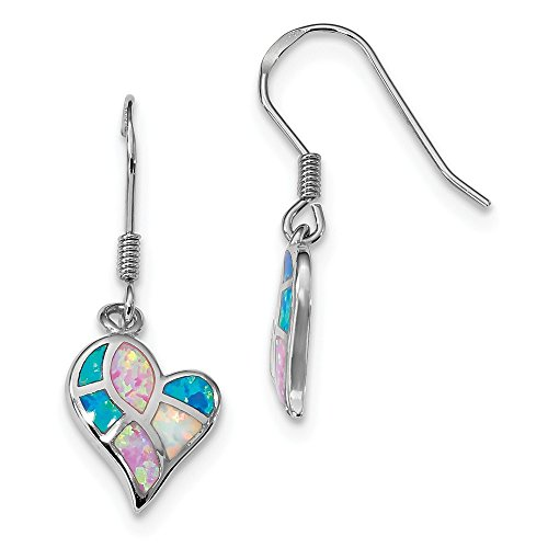 925 Sterling Silver White/pink/blue Created Opal Heart Drop Dangle Chandelier Earrings Fine Jewelry Gifts For Women For Her