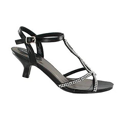 Michelle Heel Diamante Ladies Shoes Kitten Gold Anne Womens dtBXxdg