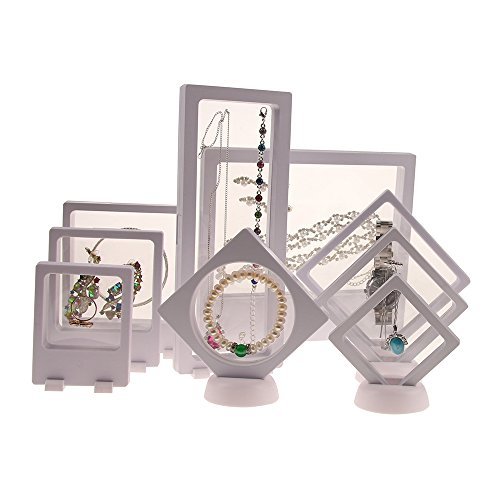 Bocar Multifunctional Transparent Clear Membrane Plastic Frame Jewelry Necklace Earring Bracelet Display Stand (1 Set, White)