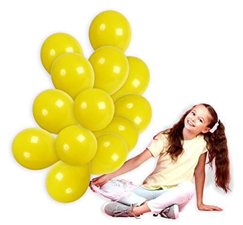 (Treasures Gifted 12 Inch Yellow Solid Latex Premium Quality Balloons Bouquet for Variety Baby Showers Cocktail Birthdays Lucky Fairytale Weddings Topical Lemon Fiestas Party Supplies (72 Pack))