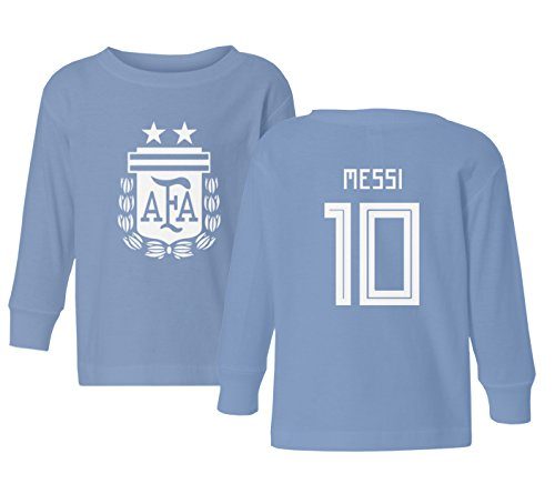 Tcamp Argentina 2018 National Soccer #10 Lionel MESSI World Championship Little Kids Girls Boys Toddler Long Sleeve T-Shirt (Carolina Blue, 3T) - Carolina Blue Jersey T-shirt