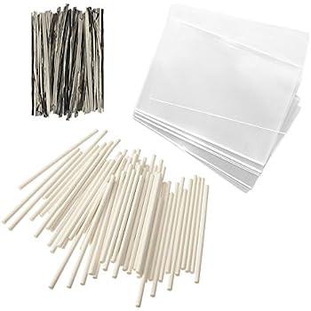 "Baking Addict 100 Cake Pop Treat Bag Sets Metallic Twist Ties, Lollipop Sticks, Clear Cello Favor Bags, 4"" W, Silver"