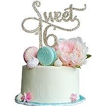 Sweet 16 Gold Cake Topper -16th Birthday Anniversary Cake Topper 16th Birthday Party Decoration