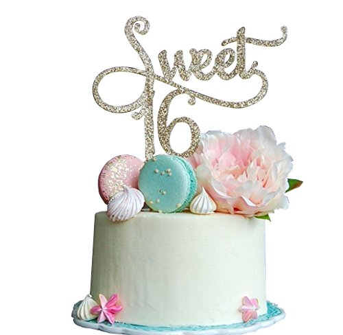 Maydolbone Sweet 16 Gold Cake Topper -16th Birthday Anniversary Cake Topper 16th Birthday Party Decoration