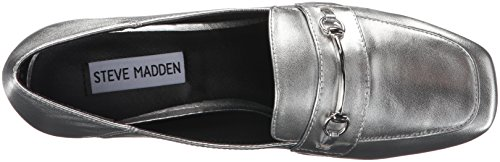 Steve Madden Womens Timbir Slip-on Loafer Silver Leather dMTEITK