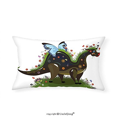VROSELV Custom pillowcasesFantasy Butterfly Riding A Funny Dragon with Flowers Kids Nursery Cartoon for Bedroom Living Room Dorm Army and Olive Green Blue(16''x24'') by VROSELV