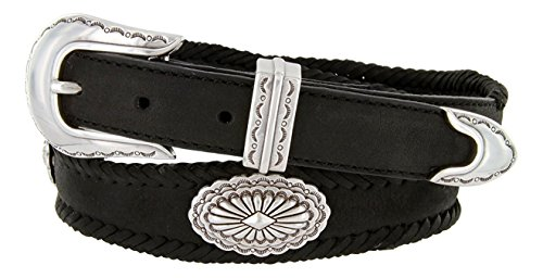Hagora Men Oil-Tanned Leather Laced Silver Sunrise Conchos 3 Piece Buckle Belt,Black (3 Piece Leather Concho Belt)